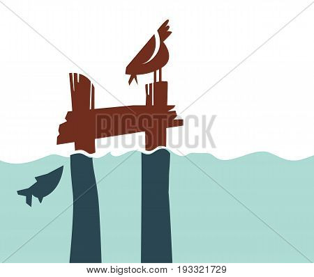 Simple retro-style pier with bird and fish for icon, logo, sign. silhouette vector illustration