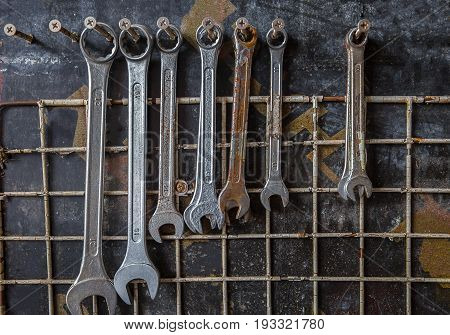 Tools for car repair in Workshop. Car repair equipment in the tool box in car repair shop