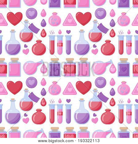 Love potion vector seamless pattern Flat design of Valentine day romantic or magical symbols isolated on the white background vector illustration with swatch