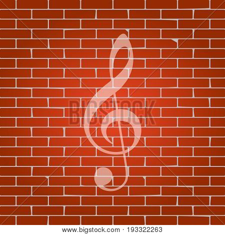 Music violin clef sign. G-clef. Treble clef. Vector. Whitish icon on brick wall as background.