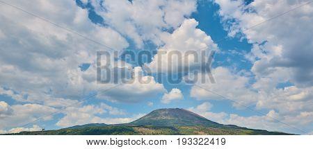 The view of Vesuvius volcano from Naples.