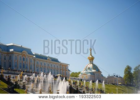 St. Petersburg, Russia, June 4, 2017: Fountains of Petergof - Palace and Park ensemble of Petrodvorets. Historical place visited by tourists.