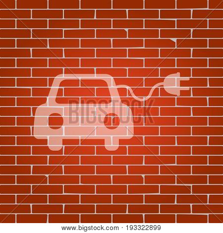 Eco electric car sign. Vector. Whitish icon on brick wall as background.