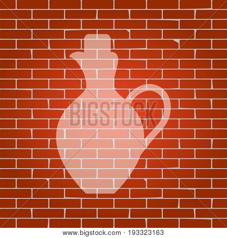 Amphora sign illustration. Vector. Whitish icon on brick wall as background.