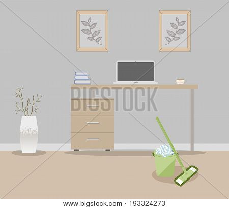 Office in loft style on a gray background. Vector illustration Table with drawers,decorative branches in a beautiful vase floor, cute paintings.Cup with coffee,laptop, books. MOP and bucket,soapy foam