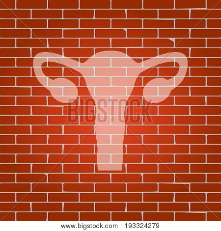 Human anatomy. Uterus sign. Vector. Whitish icon on brick wall as background.