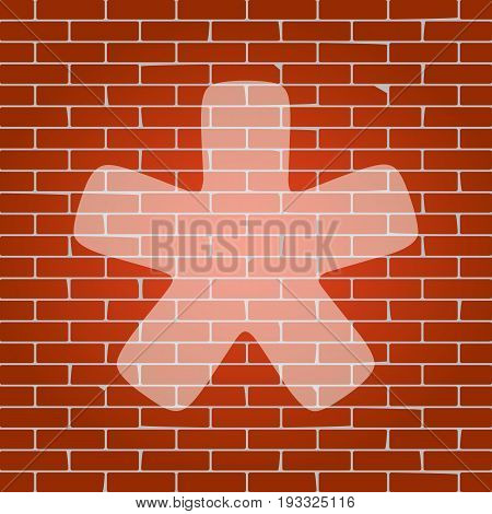 Asterisk star sign. Vector. Whitish icon on brick wall as background.