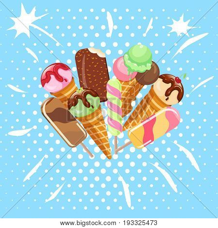 Collection of ice cream sweet dessert cold food vector illustrations isolated on white. Tasty creamy snack dairy waffle flavor cold ice-cream frozen scoop. Soft delicious milk icecream ball.