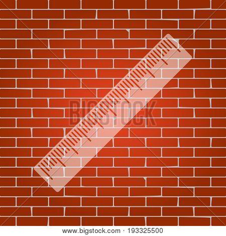 Centimeter ruler sign. Vector. Whitish icon on brick wall as background.