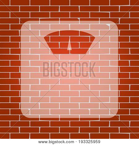 Bathroom scale sign. Vector. Whitish icon on brick wall as background.