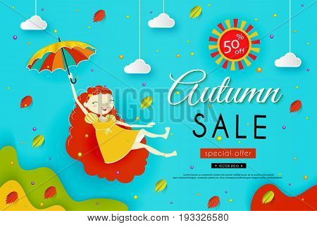 Autumn sale. Paper art. Girl with red hair flies with an umbrella. Sky, clouds, yellow and red leaves fall. Vector illustration, concept.