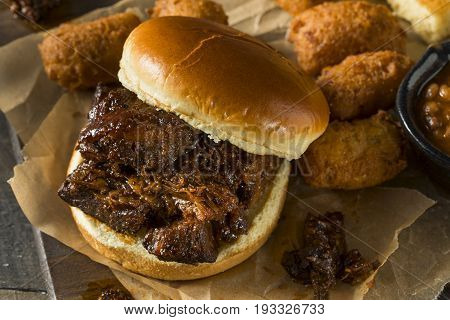Slow Smoked Brisket Burnt Ends Sandwich