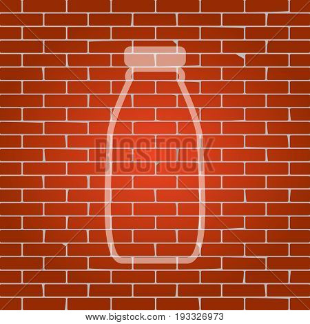 Milk bottle sign. Vector. Whitish icon on brick wall as background.