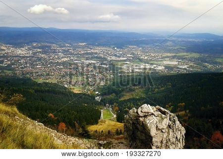Jested, Czech Republic - October 06, 2012: Big Stone On Top Named Jested Above Liberec City At Autum