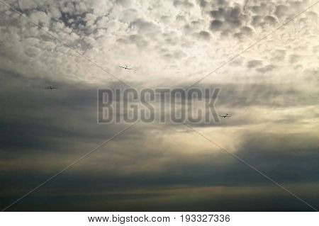 Jested, Czech Republic - October 06, 2012: Gliders Flying Over Top Named Jested Near Liberec City