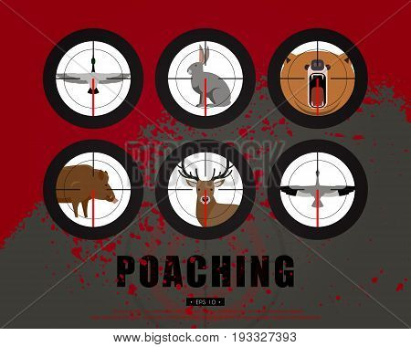 Hunter, hunting, game, hobby, sport. Poaching, crime. Wild animals and birds in the rifle sight. Template for a poster, banner, leaflets, covers, flyers. Vector illustration of EPS 10