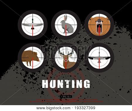 Hunter, hunting, game, hobby, sport. Wild animals and birds in the rifle sight. Poaching, crime. Vector illustration of EPS 10