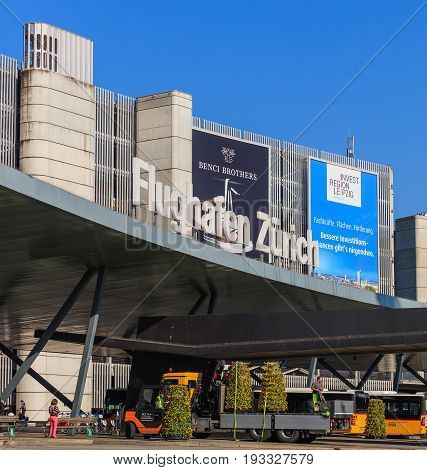 Kloten, Switzerland - 28 March, 2017: building of the Zurich Airport. The Zurich Airport also known as the Kloten Airport is the largest airport in Switzerland.