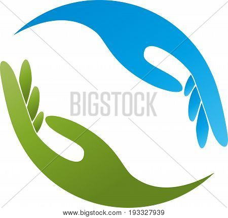 Two hands in blue and green, massage and physiotherapy logo