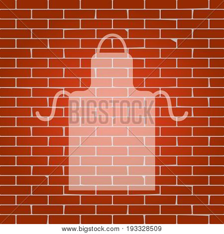 Apron simple sign. Vector. Whitish icon on brick wall as background.