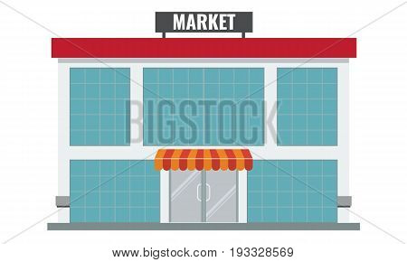 Shops and stores icon in flat and solid color design style. Vector illustration