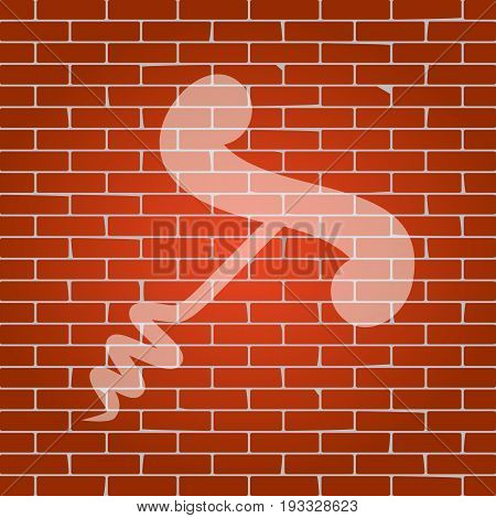 Corkscrew sign illustration. Vector. Whitish icon on brick wall as background.
