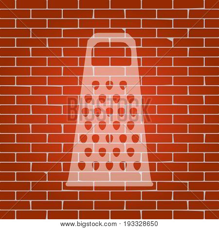 Cheese grater sign. Vector. Whitish icon on brick wall as background.