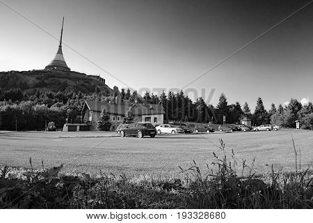 Jested, Czech Republic - Juny 10, 2017: Parked Cars Under Transceiver Named Jested Near Liberec City