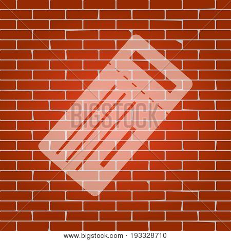 Ticket simple sign. Vector. Whitish icon on brick wall as background.