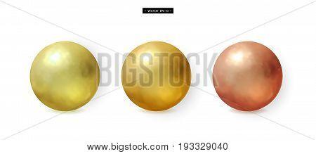 Set of 3d realistic metal balls. Gold, bronze, copper, brass. Elements for design. Vector illustration of EPS10