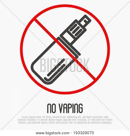 No vaping thin line icon. No smoking area vector illustration.