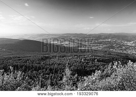 View From Hill Jested To Woods Around Virive Kameny Stones With Jizerske Hory Mountains And Liberec
