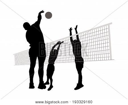 Men playing volleyball. Isolated white background. EPS file available.