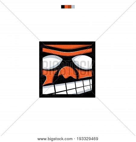 Funny Cartoon Emotion A Face For Design And Logo.