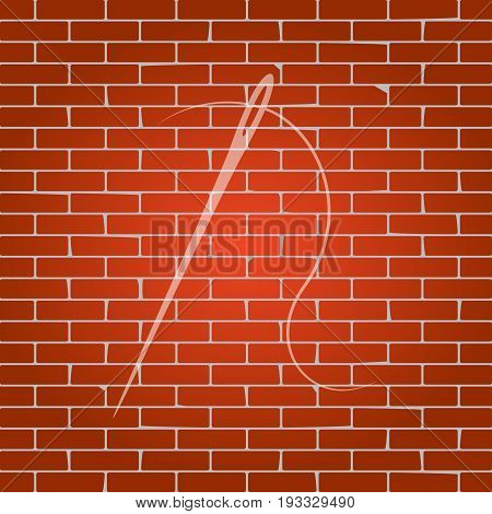 Needle with thread. Sewing needle, needle for sewing. Vector. Whitish icon on brick wall as background.