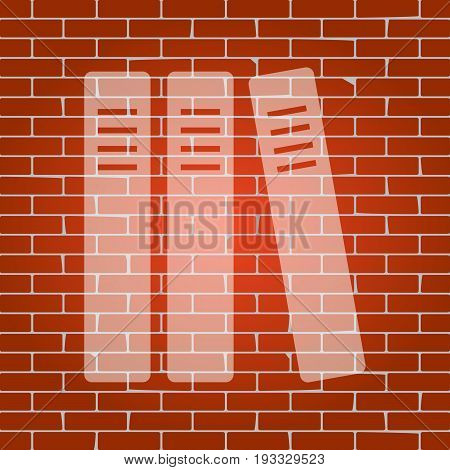 Row of binders, office folders icon. Vector. Whitish icon on brick wall as background.