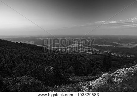 Evening Machuv Kraj Tourist Area On Horizont When Viewed From Hill Jested Near Liberec City After Su