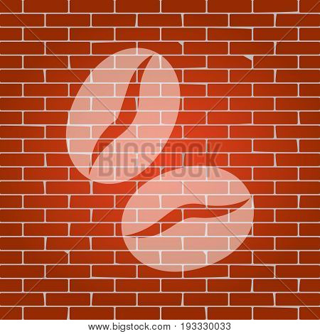 Coffee beans sign. Vector. Whitish icon on brick wall as background.