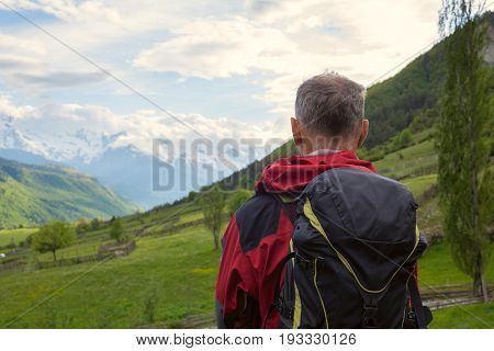 Man Traveler  In The Mountains
