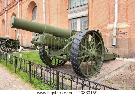 St. Petersburg Russia - 28 May, English howitzer model of 1917, 28 May, 2017. Military History Museum of combat equipment in St. Petersburg.