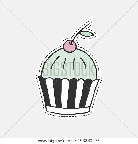 Sweet Hand Drawn Cupcake. Isolated Vector Illustration In Patch Style. Great For Stickers, Embroider