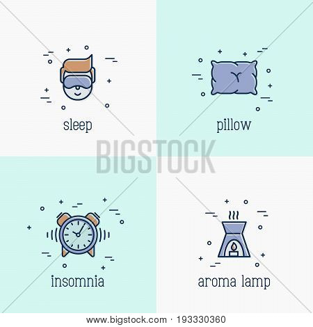 Insomnia and sleep thin line icons:. Man in sleeping mask, comfortable pillow, alarm and aroma lamp. Vector illustration.
