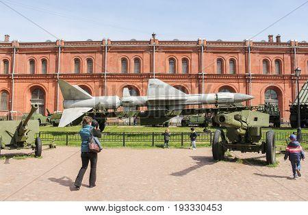 St. Petersburg Russia - 28 May, Children in the Military History Museum, 28 May, 2017. Military History Museum of combat equipment in St. Petersburg.