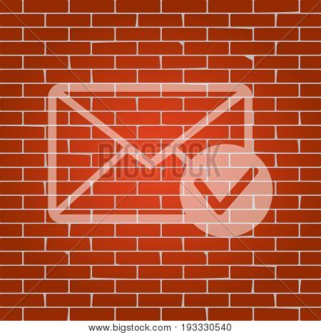 Mail sign illustration with allow mark. Vector. Whitish icon on brick wall as background.