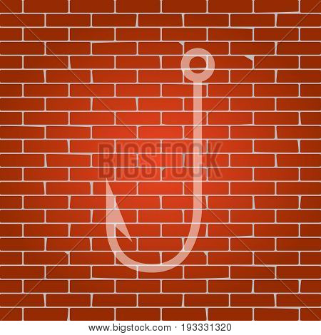 Fishing Hook sign illustration. Vector. Whitish icon on brick wall as background.