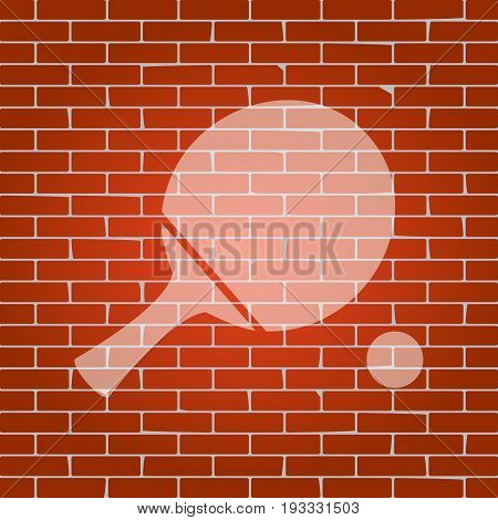 Ping pong paddle with ball. Vector. Whitish icon on brick wall as background.