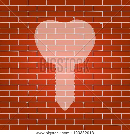 Tooth implant sign illustration. Vector. Whitish icon on brick wall as background.