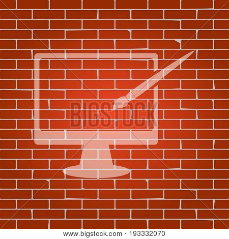 Monitor with brush sign. Vector. Whitish icon on brick wall as background.