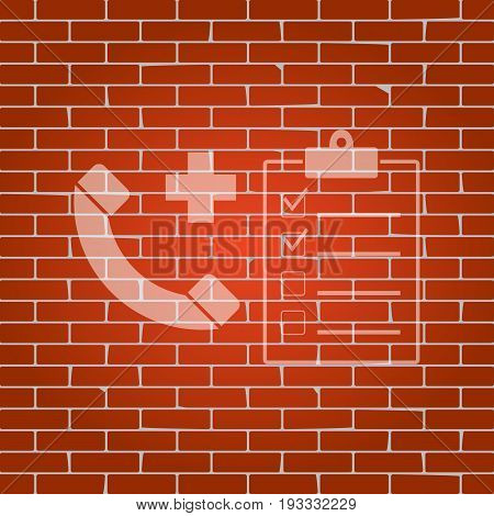 Medical consultation sign. Vector. Whitish icon on brick wall as background.