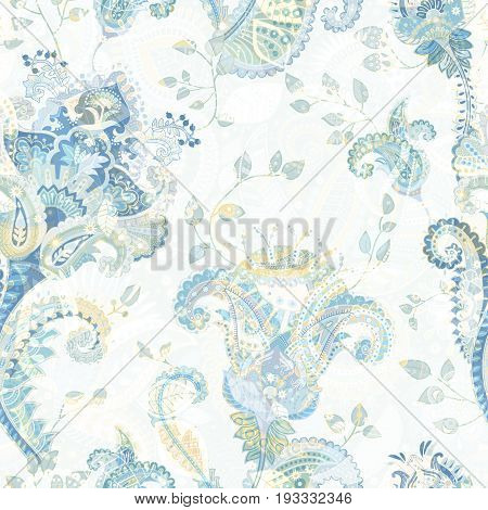 Floral seamless pattern, texture effect. Indian colorful ornament. Vector decorative flowers and Paisley. Ethnic style. Design for fabrics, web, decoupage